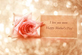 Mothers day message card with rose — Photo