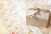Hand crafted card stock present box — Stock Photo