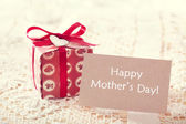 Mothers day message with hand crafted present box — Stock Photo