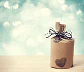 Present wit heart — Stock Photo