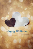 Birthday card with hearts — Stock Photo