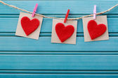 Hearts with clothespins — Stock Photo