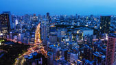 High above city in Tokyo — Stock Photo