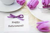Happy Retirement message with table setting — Stock Photo
