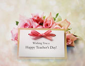 Teachers Day message with pink roses — Stock Photo
