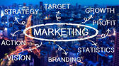 Marketing flow chart over the metropolis — Stock Photo