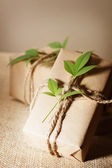 Rustic present boxes — Stock Photo