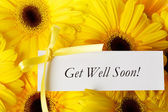 Get Well Soon card with yellow gerberas — Stock Photo