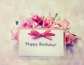 Happy Birthday card with retro pink roses — Stock Photo
