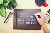 Man drawing Think outside box — Stock Photo
