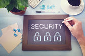 Man drawing security concept — Stock Photo