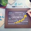 Growth concepts drawn on chalkboard — Stock Photo #50835147