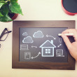 Man drawing cloud connectivity concepts — Stock Photo