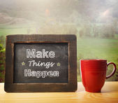 Make Things Happen! inscribed on blackboard — 图库照片