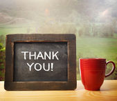 Thank you! inscribed on chalkboard — Stock Photo