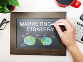 Marketing strategy sketched on chalkboard — Zdjęcie stockowe