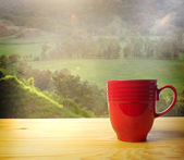 Red coffee mug — Stock Photo