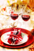 Holiday Dinner Table Setting — Stock Photo