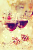 Holiday Wine Table Setting — Stock Photo