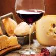 Постер, плакат: Red wine with dairy products and salami