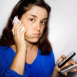 Stock Photo: Stressed by smartphone