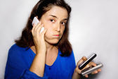 Stressed by smartphone — Stock Photo