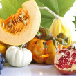 Halloween pumpknis with autumnal food — Foto de Stock