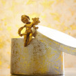 Christmas gift box with decorative angel — Foto de Stock
