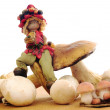 Elf with mushrooms — Stock Photo