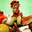 Forest elf with autumnal fruits and mushrooms — ストック写真