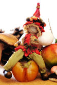 Elf sitting over a persimmon — Stock Photo