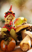 Elf with mushrooms and autumnal fruits — Stock Photo