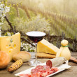 Red wine glass with chesse selection against italian Collio vin — Stock Photo