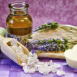 Lavender essential oil and bath salts — Stock Photo