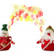 Snowflakes in equilibrium between santa and snowman — Stock Photo
