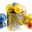 Christmas balls inside a golden box — ストック写真
