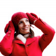 Winter red dressed girl - Stock Photo