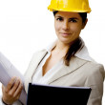 Female engineer over white background — Stock Photo