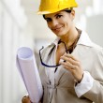 Female architect against interiors background — Stock Photo