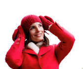 Winter red dressed girl — Stock fotografie
