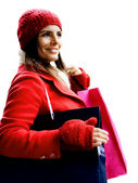 Christmas shopping girl — Stockfoto