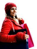 Vánoční nákupní holka — Stock fotografie