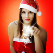 Christmas girl with sparkling stars — Stockfoto