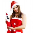 Christmas girl with champagne bottle — Stock Photo