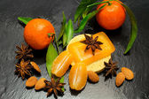 Winter spa with spices and clementine — Stock Photo