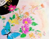 Música y floral Abstact — Foto de Stock