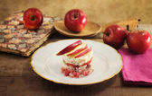 Timbale of rice, speck and red apple — Stock Photo