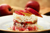 Delicious timbale of red stark apple and speck — Stockfoto