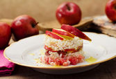Delicious timabel of red stark apple and speck — Stok fotoğraf