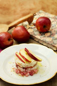 Delicious timbale of red stark apple and speck — Stock Photo